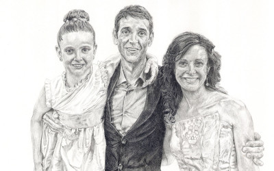 pencil drawing of a friends family