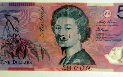 ink on Australian plastic banknote