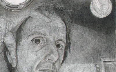 pencil drawing on gesso, detail