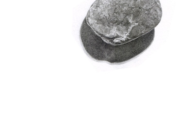 pencil drawing of a small pebble