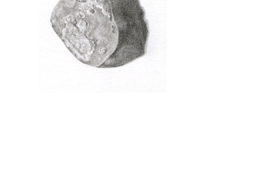 pencil drawing of small quartz pebble