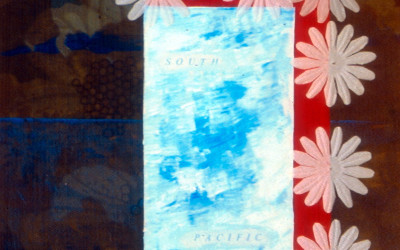 watercolour on map sown to screenprinted silk lampshade material stretched on box under plastic