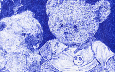 detail from biro drawing of two teddy bears