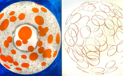 painting on intaglio prints from found 'plates'